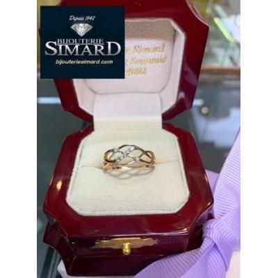 Bague à diamants en or rose 10k