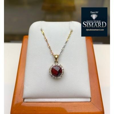 Pendentif  grenat et diamants