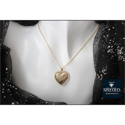 Pendentif  coeur 3 tons cz + ch or 10 k
