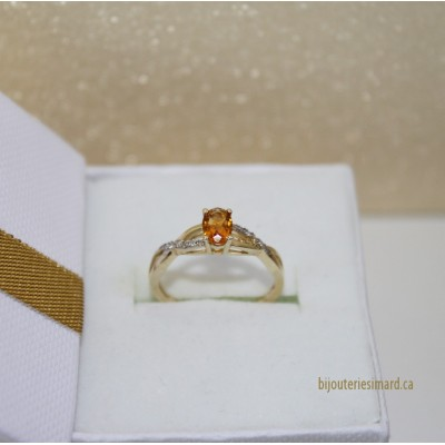Bague en or 10 k citrine et diamants