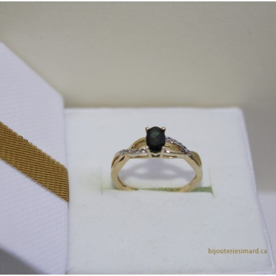 Bague en or 10 k saphir et diamants